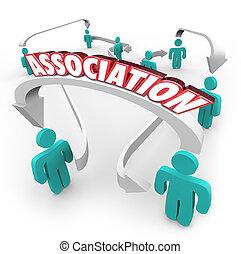 grupo, pessoas, clube, palavra, setas, conectado, organização, associação