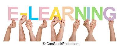 grupo pessoas, com, a, palavra, e-aprendendo