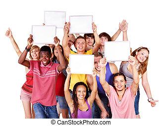 grupo, pessoas, com, banner.