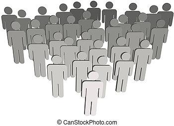 grupo, pessoas, companhia, ou, branca, 3d, símbolo, população