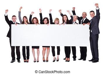 grupo pessoas empresariais, com, um, em branco, bandeira