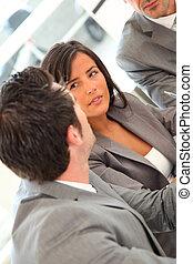 grupo pessoas empresariais, em, um, reunião