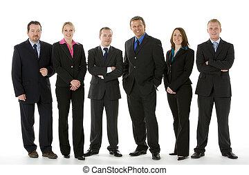 grupo pessoas empresariais, ficar numa linha