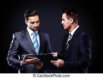 grupo pessoas empresariais, ligado, a, reunião