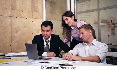 grupo pessoas empresariais, ligado, conferência video