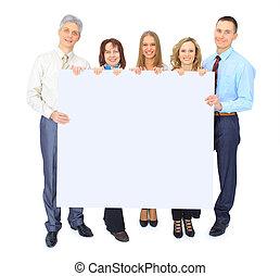 grupo pessoas empresariais, segurando, um, bandeira, anúncio, isolado, branco