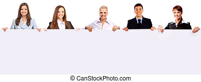 grupo pessoas empresariais, segurando, um, bandeira