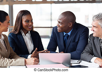 grupo pessoas empresariais, tendo, reunião
