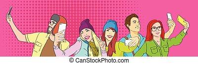 grupo, pessoas, estudantes, foto, levando, estouro, telefone, arte, selfie, esperto