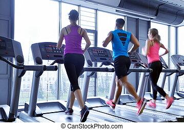 grupo pessoas, executando, ligado, treadmills