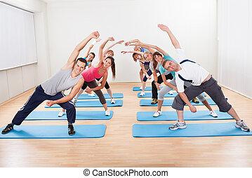 grupo pessoas, fazendo, aeróbica