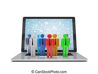 grupo pessoas, figuras, ligado, laptop, 3d, render