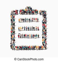 grupo, pessoas, forma, questionário, perguntas