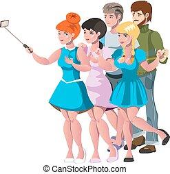 grupo, pessoas, foto, levando, amigos, selfie