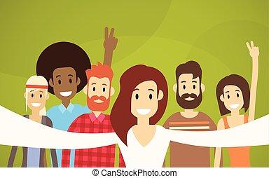 grupo, pessoas, foto, levando, hipster, amigos, selfie