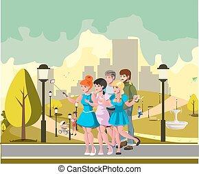 grupo, pessoas, foto, levando, parque, selfie
