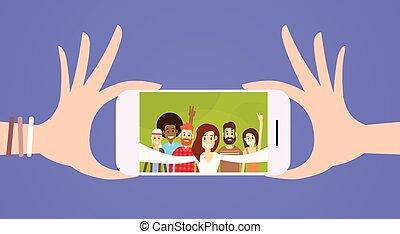 grupo, pessoas, foto, levando, telefone pilha, selfie, esperto