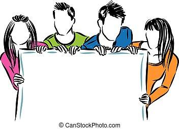 grupo, pessoas, ilustração, vetorial, tábua, segurando, branca