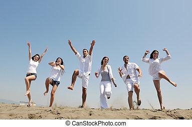 grupo, pessoas, jovem, divirta, praia, feliz