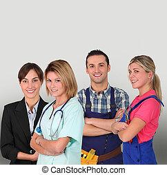 grupo, pessoas, jovem, fundo, profissional, branca