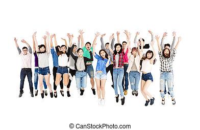 grupo, pessoas, jovem, isolado, pular, branca, feliz