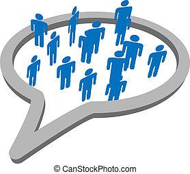 grupo, pessoas, mídia, fala, social, bolha, conversa