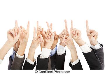 grupo, pessoas negócio, ponto, junto, mãos, cima