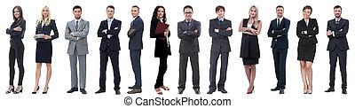grupo, pessoas negócio, sucedido, isolado, branca