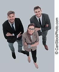 grupo, pessoas negócio, sucedido, olhar, confiante, feliz