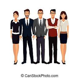 grupo, pessoas negócio, trabalho equipe