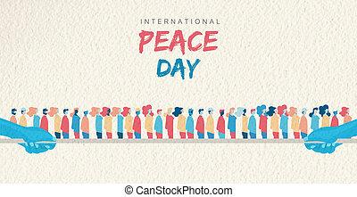 grupo, pessoas, paz, diverso, mundo, dia, cartão