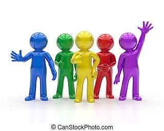grupo, pessoas, -, pequeno, melhor, 3d