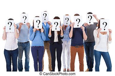 grupo, pessoas, pergunta, diverso, segurando, sinais