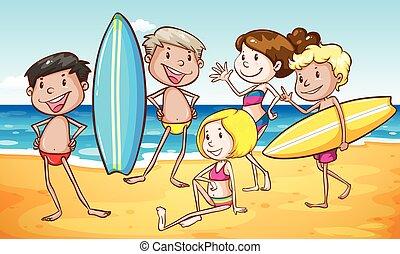 grupo pessoas, praia