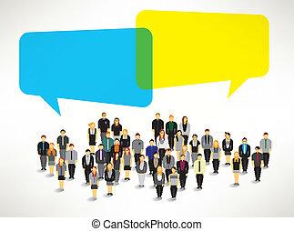 grupo, pessoas, recolher, grande, vetorial, desenho