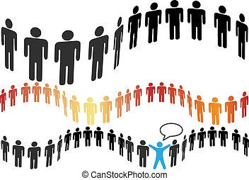 grupo, pessoas, símbolo, azulejo, linha, horizontais