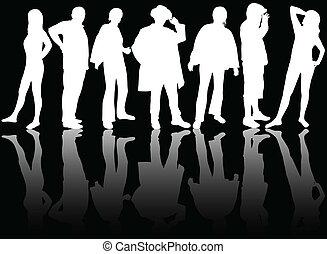 grupo pessoas, silhuetas