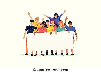 grupo, pessoas, sinal, segurando, em branco, animado feliz