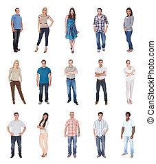 grupo pessoas, vestido, em, casual