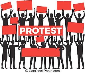 grupo, protesto, branca, silueta, protester