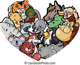 Grupo, Quadro, Amor,  animal