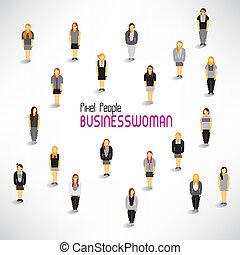 grupo, recolher, grande, vetorial, desenho, mulheres negócios