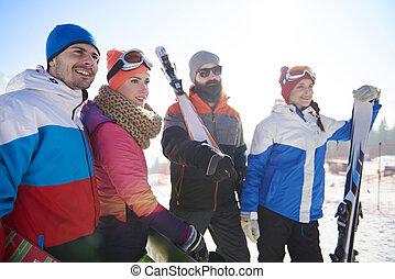 grupo, recurso, amigos, esquí