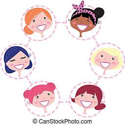 grupo, red, multicultural, aislado, blanco, mujeres