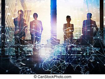 grupo, rede, negócio, efeito, olhar, futuro, digital, sócio