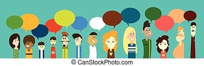 grupo, rede, pessoas, comunicação, mistura, raça, conversa, ...