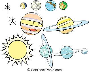 grupo, retro, sistema solar