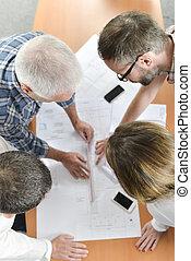 grupo, reunião, arquitetos