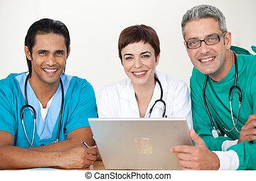 grupo, reunião, doutores