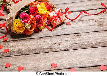 grupo rosas, com, um, caixa presente